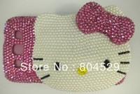 3D hello kitty Rhinestone bling crystal diamond case cover for IPHONE 4/5 100% handmade