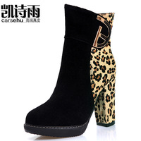 2014 autumn and winter fashion round toe ultra high heels boots color block decoration leopard print scrub genuine leather thick