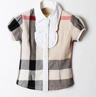 Retail brand 2015100%cotton British Classic Plaid 2-6yrs Baby Girls Shirts summer New short-sleeve  Free shipping