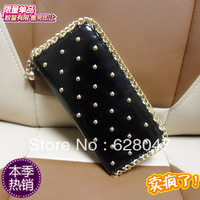 Rivet wallet long chain design wallet candy color women's wallet  card holder