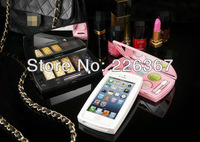 Free Shipping High Quality Hot Sales Fashion Style Powder Box with Mirror Luxury Cover Case For Apple iphone 5
