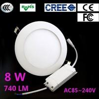 10pcs/Lot 8W LED Ceiling Panel Light Round Super Bright Light 720lm LED Lamp AC85V-265V + Free Shipping  DHL/EMS