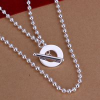 Free Shipping!Wholesale 925 Silver Necklace & Pendant,925 Silver Fashion Jewelry,GU Circle Beads Necklace SMTN154