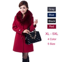 Plus Size 4XL 5XL High Quality 2015 Autumn Winter Coat Women Long Style Thick Wool Outwear Female Slim Faux Fur Collar Coats