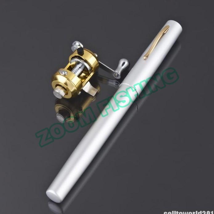 New Silver Mini Pocket Portable Aluminum Alloy Pen Fish Fishing Rod Pole Reel Travel Favorite(China (Mainland))