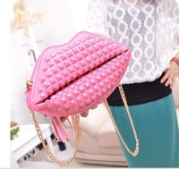 2014 new Korean fashion handbags candy color three-dimensional wave packet lips tassel chain bag shoulder bag diagonal packet