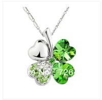 Min order is $10 Free shipping Promotion gift Four Leaf Clover Crystal necklace special offer necklaces fashion 8 colors