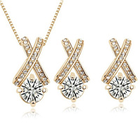 Free Shipping 2013 new fashion Austrian crystal white gold plated jewelry set Fashion Costume Jewelry  #1116