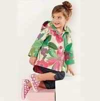 Retail 1Pc Children Spring Coat With A Hood Girls Flower Print Cardigan Trench Fashion High New CCC036-2