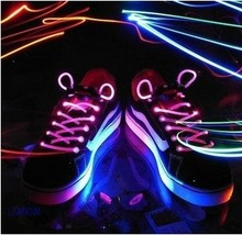 2pcs/lot Cool goods Colorful Flash Shoelace party Funny Toys gift Creative luminous lace for Cycling running Dances festivals (China (Mainland))