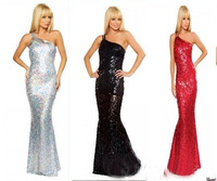 2013 New Arrival Fashion Sparkled Three Color Sloping Backless Shoulder Slim Fit Sexy Mermaid Evening Dresses  Z170