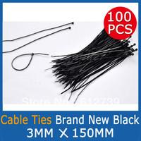 100Pcs Balck Nylon Cable Ties Zip Ties (3mm x 150mm) GOOD QUALITY UV Stabilised Cheap shipping