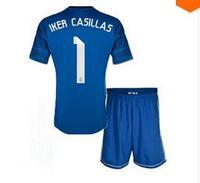 A+++ Kids Thai Real Madrid 14/15  New blue Iker Casillas Kids Soccer Jersey Cheap Football Kits