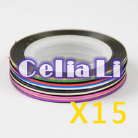15 sets Multicolor Rolls Striping Tape Line DIY Nail Art Tips Decoration Sticker 1136