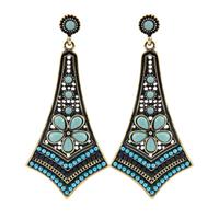 2014New Fashion Women Vintage Multicolor Resins & Beads Flower Long Pendants Statement Drop Earrings Bohemian Earrings For Women