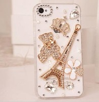 New Fashion Hot sale Tower Cubs Hard Back Cover  For Iphone 4 4s case transparent diamond bling shell  1pc free shipping