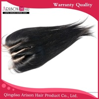Silk straight Clear side/middle parting 4*4 lace closure malaysian hair,free shipping with babyhair, 120 density,1b#