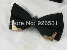 High-grade bowtie/classic color/black and white/metal head/han edition men's boutique bow ties,free shipping(China (Mainland))