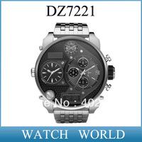 HK post free shipping  DZ 7221 hot sale men's quartz watch DZ7221 sport Stainless Steel Bracelet watch +original box