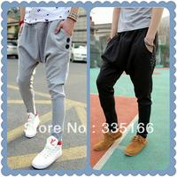 Fashion Baggy Sweatpants M--XXL Black/Grey Colors,   Skinny Sports/Dance Harem Sweat Pants For Men   #JM09479--Free Shipping