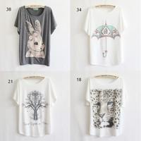 2013 free shipping women's short-sleeve T-shirt Printing on restoring ancient ways print tee women t shirt 21 model