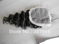 free parted silk base lace top closures queen hair deep wave lace,loose curl brazilian virgin remy hair 4x4 ,10-22 inch