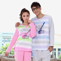 Autumn and winter lovers long-sleeves knitted cotton sleepwear lounge clothes pajamas for male and female AP0082