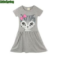 Preorder LittleSpring new Arrival summer girl dress cat print grey baby girls dresses children clothing children dress 2-10years
