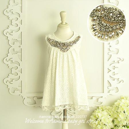 High fashion white baby girls dresses wholesale child clothes 5pcs