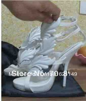 2013 Fashion Hot GSandals White Leaf Women Sandals Flame Wings High Heel Cruel Summer Kanye West - All Sizes Fast Shipping