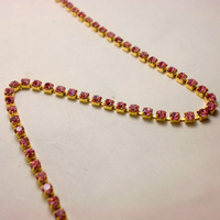 SS6.0 20meters/lot Rose Color Rhinestone Cup Chain Chatons Strass Free Shipping