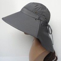 New Fashion Dark Gray Women's Foldable Outdoor Anti-UV Protection Sun Hat Wide Brim Hiking Cap