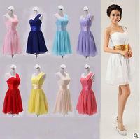 Free Shipping Latest Designs Fashion Sweetheart One-shoulder Chiffon  Evening Dress