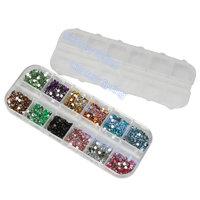 Mix 12 Color 2mm round Beads Nail Art Rhinestones Glitters Nail Art Gems Decoration