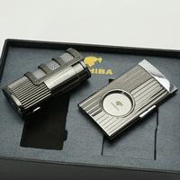COHIBA Matt Black Stainless Steel Cigar Cigarette Lighter With Cigar Cutter Set