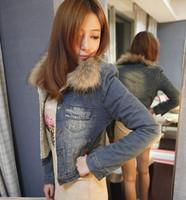 Women's autumn and winter outerwear clothes raccoon fur cotton-padded jacket plus velvet denim outerwear short design