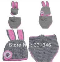 1pc Grey Rabbit  Newborn Baby Boy Girl Crochet Knit Wool Aminal Beanie Hat Cap Costume Set Photo Prop For 0-12 Months Free ship