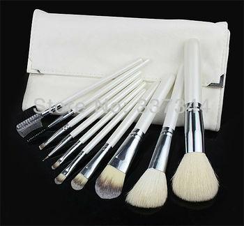 Free Shipping~ New 10pcs White Basic Brushes Make Up Brush Kit Cosmetic Goat Hair Brush Set with PU Bag, Xams Gift Dropshiping