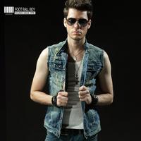 Fbboy2013 men's spring and summer clothing denim vest male design sleeveless short jacket outerwear vintage vest