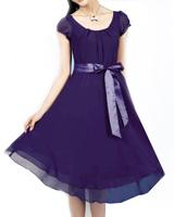2014 Spring And Summer Elegant Maxi Chiffon Dress 5XL Plus Size Women Clothing Casual Dresses Purple Big Size XL  XXL XXXL XXXXL