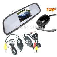 "wireless Car Rear View Kit 4.3"" Mirror Monitor + Mini Reversing camera Wide Aangle 170 Degree Free shipping"