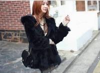 Free  shipping faux fur coat women's rabbit faux fur hooded casual outerwear design short outerwear