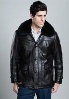 Hot !!! Free shipping New men's leather, sheep skin Genuine Leather jackets, suede collar fur coat in winter