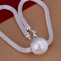 Free Shipping!Wholesale 925 Silver Necklace & Pendant,925 Silver Fashion Jewelry Sand Net Necklace SMTN182