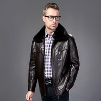 Free shipping New winter fur coat, men's sheep leather jacket, winter plus velvet warm fur coat / M--XXXL