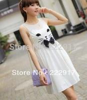 Free Shipping Specials new 2013 summer  Korean sweet princess kitty bow waist vest dress white