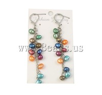 Free shipping!!!Freshwater Pearl Earrings,Statement Jewelry, multi-colored, 5-6mm, 76mm, Sold By Pair