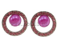 Free shipping!!!Zinc Alloy Stud Earring,Statement Jewelry, with Glass Pearl, Donut, platinum color plated, with rhinestone