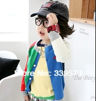 Free Shipping 2014 Spring&Autumn New Style Children Knitted Cardigan Coat Candy Colorant Match Long-Sleeve Fashion Kid's Coat