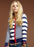 2014women's pocket female navy style preppy style stripe cardigan sweater free shipping